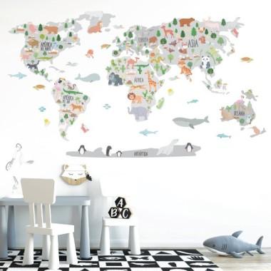Carte du monde avec animaux - Gris - Sticker muraux chambre bébé