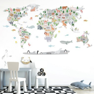 Mapa mundi con dibujos de animales - Tonos gris - Vinilos decorativos de pared