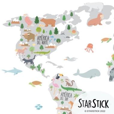 Carte du monde avec animaux - Gris - Sticker muraux chambre bébé Stickers mapamundi Dimensions approximatives (largeur x hauteur) Petit:75x45 cmMoyen:100x60 cmGrand:150x85 cmGéant:190x110 cmSuper Géant:245x140 cm   vinilos infantiles y bebé Starstick
