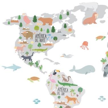 Mapa mundi con dibujos de animales - Tonos gris - Vinilos decorativos de pared Vinilos mapamundi Vinilo mapa mundi con ilustracionesde animales. Vinilo decorativo para habitaciones de niños, niñas, bebés, escuelas, colegios, guarderías... Un mapa mural divertido y muy decorativo. Vinilo exclusivo de StarStick vinilos. Medidas aproximadas del vinilo montado (ancho x alto) Pequeño:75x45 cm Mediano:100x60 cm Grande:150x85 cm Gigante:190x110 cm Súper Gigante:245x140 cm vinilos infantiles y bebé Starstick