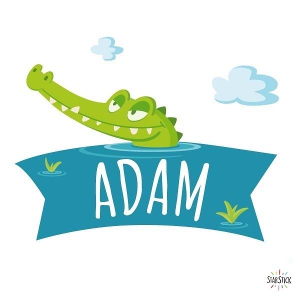 LE CROCODILE AFFAMÉ - Sticker nom de porte Stickers porte chambre Taillede la feuille/montage 1 prénom:25x20 cm 2 prénoms:25x24 cm  vinilos infantiles y bebé Starstick