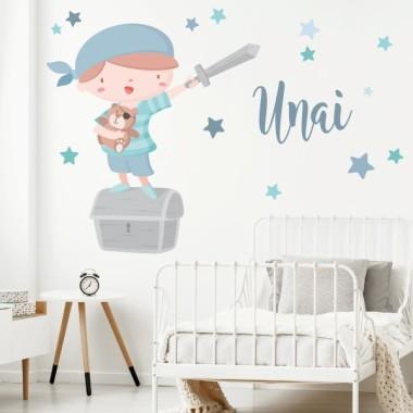 Súper niño pirata - Azul - Vinilos infantiles