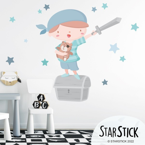 Super pirate boy - Bleu - Vinyle pour enfants Sticker muraux chambre bébé Mesures approximatives du vinyle monté (largeur x hauteur) Basique: 70x50 cmPetit: 110x70 cmMoyen: 160x95 cmGrand: 190x150 cmGéant: 240x170 cm   AJOUTE UN NOM POUR LE VINYLE À PARTIR DE 9,99€   vinilos infantiles y bebé Starstick