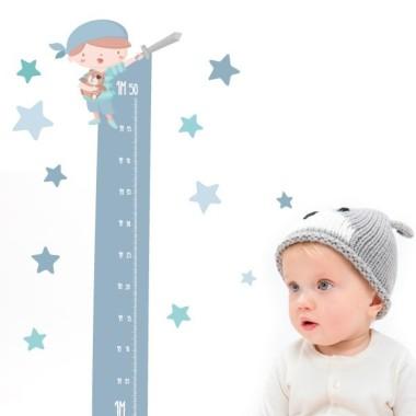 Sticker toise - Super pirate boy - Vinyle pour enfants Toises Les Tailles Taille de la feuille: 135x30cmTaille du montage: 135x35 cm   Comprend 16 étiquettes pour marquer ce que vous voulez! vinilos infantiles y bebé Starstick