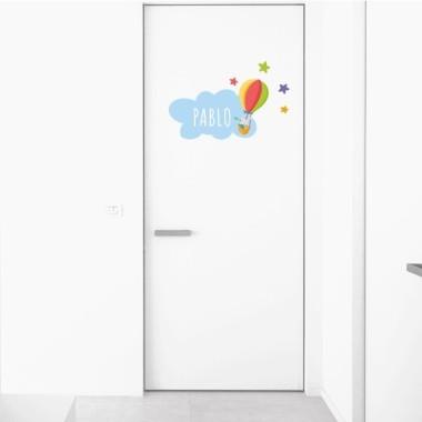 Lapin explorateur - Sticker nom de porte Stickers porte chambre Taille de la feuille et montage 1 nom:30x20 cm 2 noms:31x22 cm  vinilos infantiles y bebé Starstick