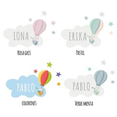 Conejito explorador en globo - Vinilo personalizable - Nombre para puertas