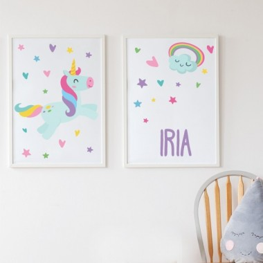 Pack de 2 láminas decorativas - Unicornio