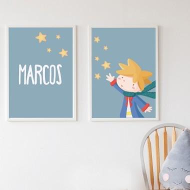 Lot de 2 toiles déco - Petit prince + Toile avec nom