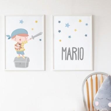 Pack de 2 láminas decorativas - Súper niño pirata  + Lámina con nombre