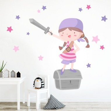 Vinilos infantiles -  Súper niña pirata - Lila
