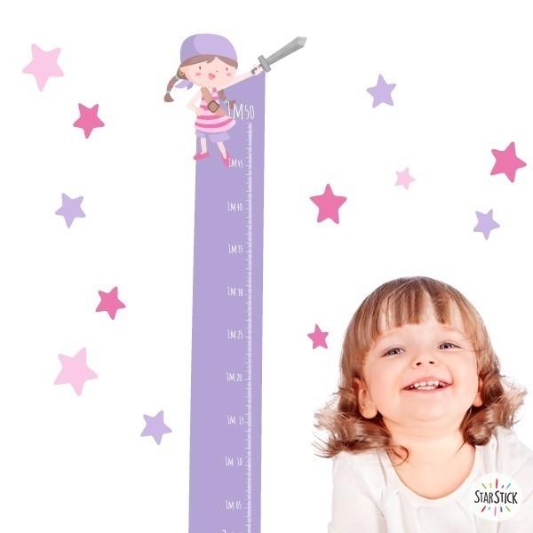 Sticker toise - Super pirate fille - Vinyle pour enfants Toises Les Tailles Taille de la feuille: 135x30cmTaille du montage: 135x35 cm   Comprend 16 étiquettes pour marquer ce que vous voulez! vinilos infantiles y bebé Starstick