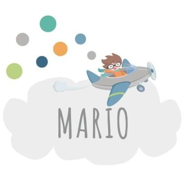 Avion avec des confettis - Sticker nom de porte Stickers porte chambre Taille de la feuille et montage 1 nom:30x20 cm 2 noms:31x22 cm  vinilos infantiles y bebé Starstick
