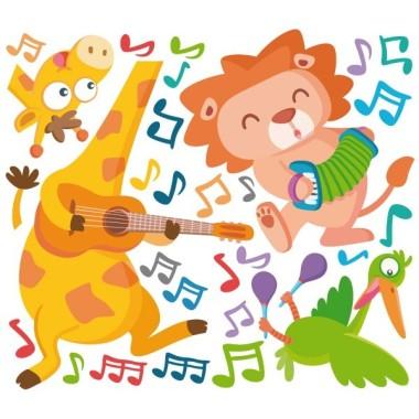 Unos músicos muy animales - Vinilos infantiles decorativos Vinilos Educativos / Colegios ¡Llegó la hora de la fiesta! Vinilo decorativo con 3 músicos muy animales capaces de dar color y alegría a cualquier pared. Vinilos infantiles perfectos para zonas de juego, colegios, aulas de música… Medidas aproximadas del vinilo montado (ancho x alto) Básico:70x40cm Pequeño:100x80 cm  Mediano:160x65cm  Grande: 240x100 cm Gigante: 320x140 cm AÑADE UN NOMBRE AL VINILO DESDE 9,99€  vinilos infantiles y bebé Starstick