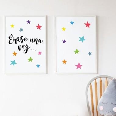 Pack de 2 láminas decorativas - Érase una vez… + estrellas de colores