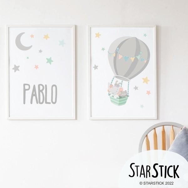Pack de 2 láminas decorativas - Animales volando en globo + Lámina con nombre