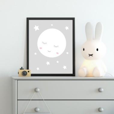 Lámina infantil - Luna llena con estrellas