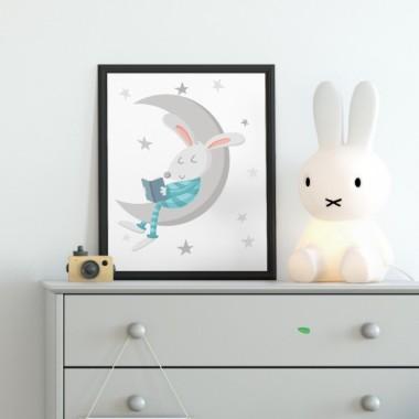 Lámina decorativa - Conejito leyendo en la luna