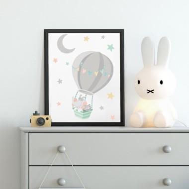 Lámina decorativa infantil - Animales volando en globo