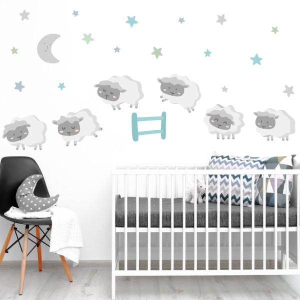 Moutons - Combinaison de menthe - Sticker muraux chambre bébé