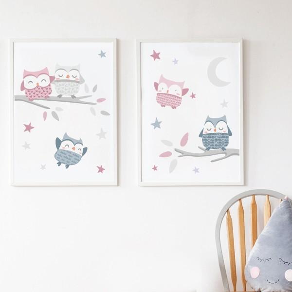 Pack de 2 láminas decorativas - Búhos rosa palo