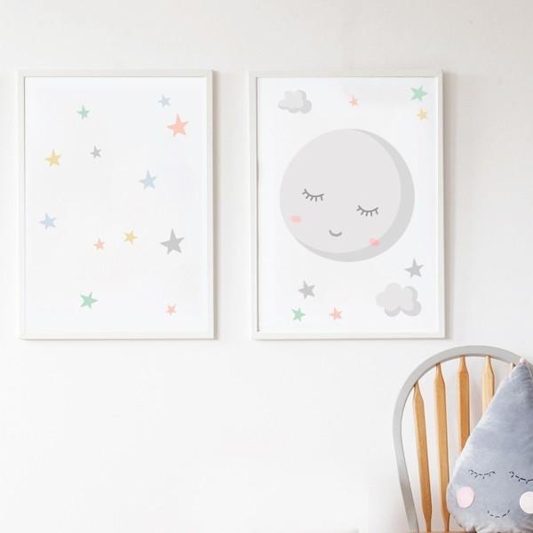Pack de 2 láminas decorativas - Luna llena con estrellas de colores