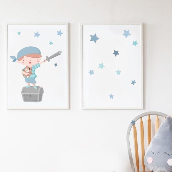 Lot de 2 toiles déco - Super pirate boy + Toile avec étoiles