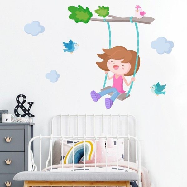 Vinilo infantil niña – Árbol con columpio. Niña