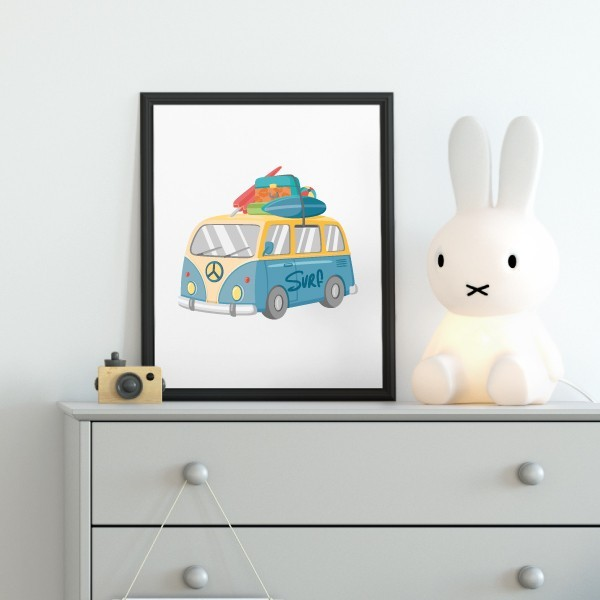 Làmina decorativa infantil - Furgo surfera
