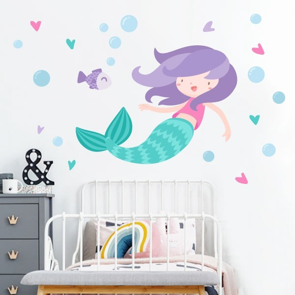 Vinilo infantil niña sirena - Vinilos decorativos