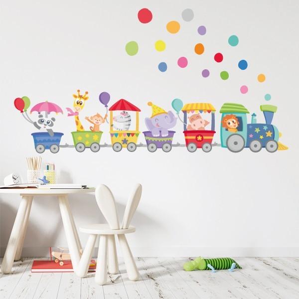 Vinilo infantiles bebé - Tren con animales y confeti de colores