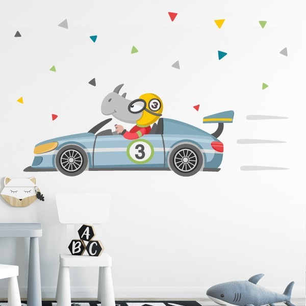Vinils infantils - Cotxe de carreres amb rinoceront