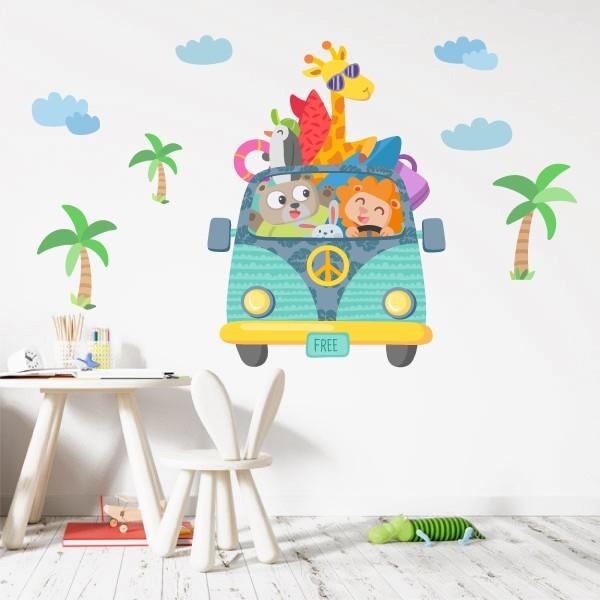 Van camping - Sticker muraux chambre bébé