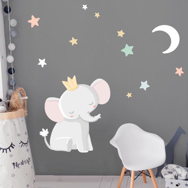 Vinilos para bebé – Elefante con corona - Luna blanca