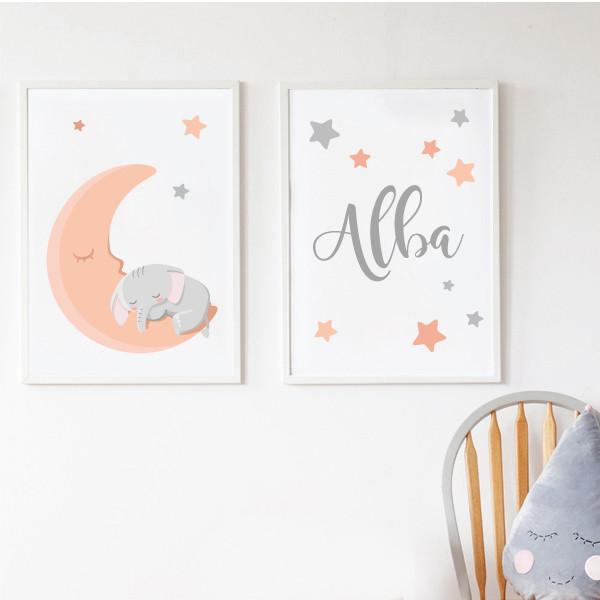 Pack de 2 láminas decorativas - Elefante en la luna