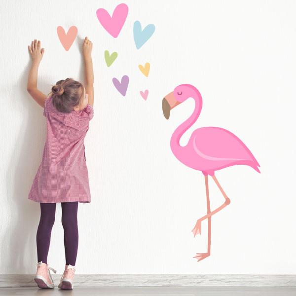 Flamant rose avec coeurs - Sticker décoratif pour enfants