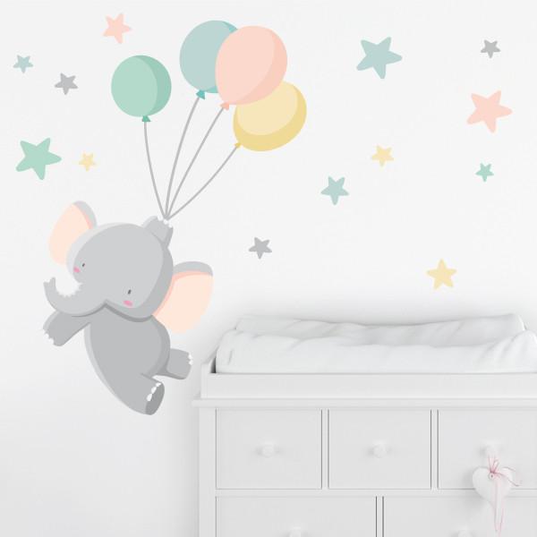 Stickers pour enfants - Le petit éléphant avec des ballons