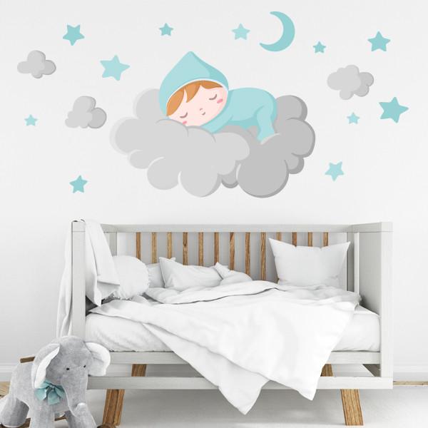 Bébé dort sur le nuage gris - Stickers muraux bébé