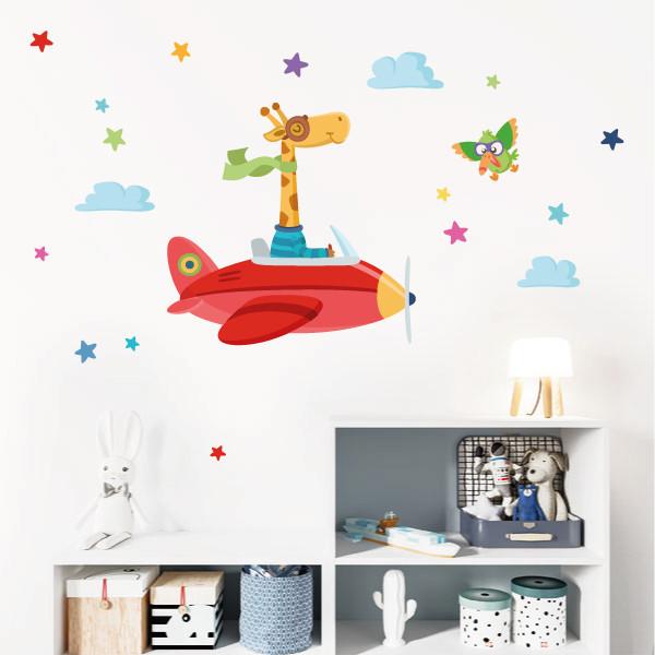 Vinilos infantiles La jirafa va en avión - Vinilos infantiles para niños y niñas