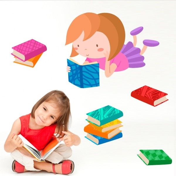 Lecture de fille- Sticker enfant