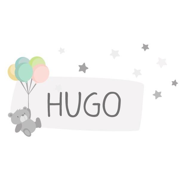 Osito con globos - Nombre para puertas Vinilo infantil
