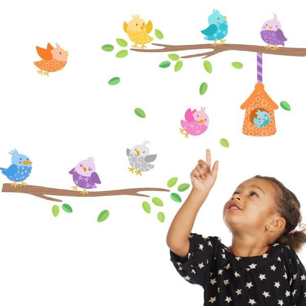 Vinilo bebé Pajaritos de colores con casita - Vinilo infantil decorativo