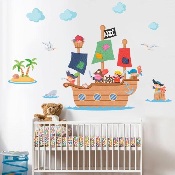 Vinilo infantil para niños Gran barco pirata