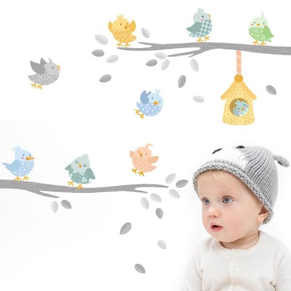 Vinilo bebé Pajaritos con casita en tonos gris  - Vinilo infantil decorativo