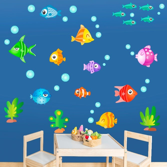 Poissons tropicaux- Sticker mural