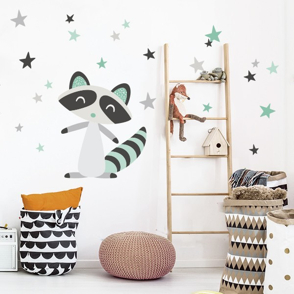 Raccoon style nordique -  Stickers Scandinave