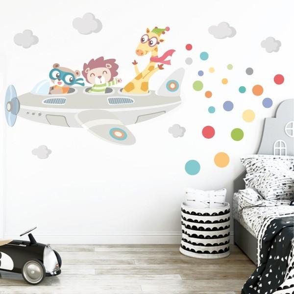 Vinilo bebé Avión con animales GRIS - Vinilos infantiles bebé