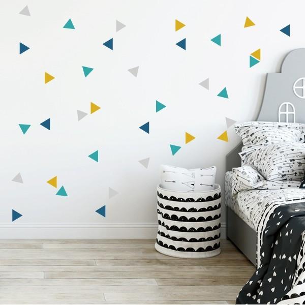 Triángulos nórdicos combinación mostaza - Vinilos bebé