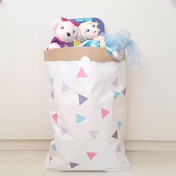 Sac organitzador de paper - Triangles rosa gris