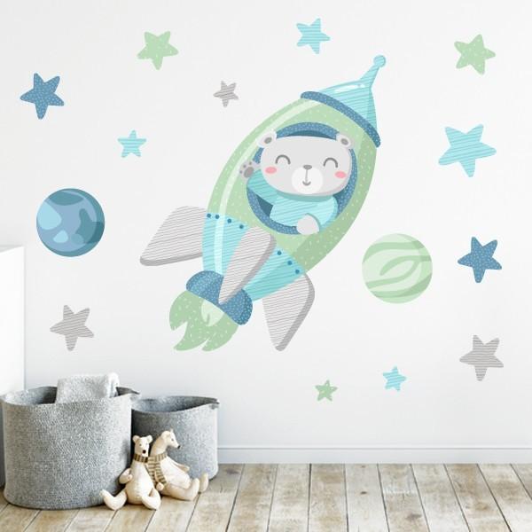 Sticker bébé - Rocket avec ours. Mint
