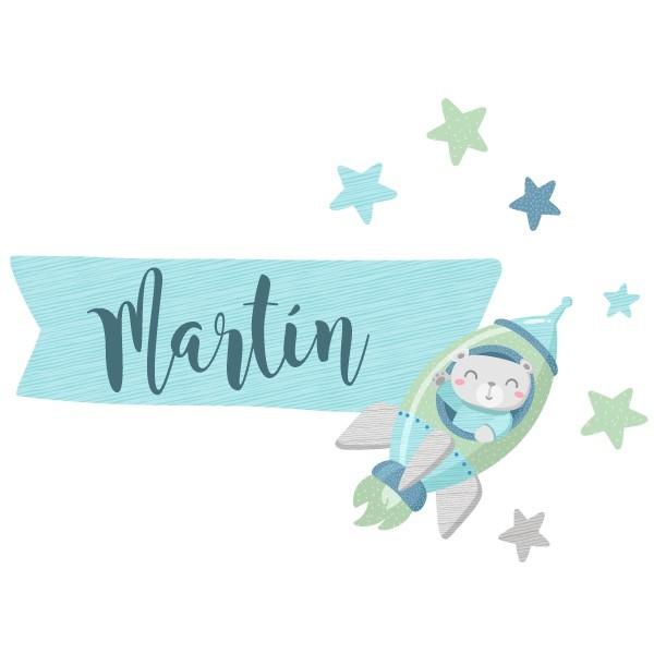 Cohete con osito - Vinilo infantil nombre para puertas